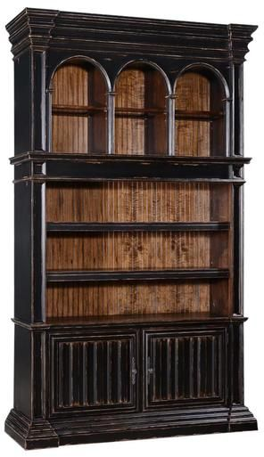 Bookcase Cathedral Antiqued Blackwash Wood Old World Moldings Bead