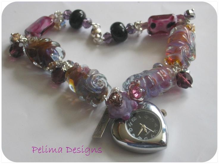 Handmade glass pendant watch/bracelet