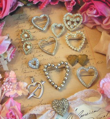 old earrings, brooches, scatter pins, pendants, barrettes and shoe clips