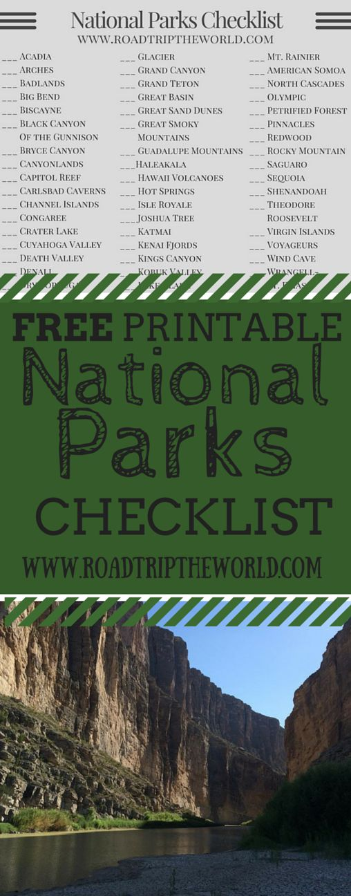 Free Printable National Parks Checklist - Keep Track Of What National Parks You Have Visited and Which National Parks are Still Waiting For You!