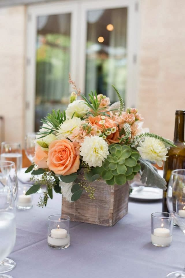 peach, white, ivory, green, succulents wedding centerpiece <3