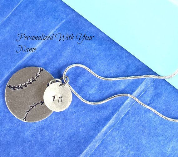 Softball Necklace Jewelry Player Gift / by HandStampedTrinkets