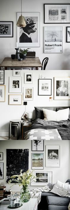 Monochrome Scandinavian picture wall ideas - a mixture of frame sizes.