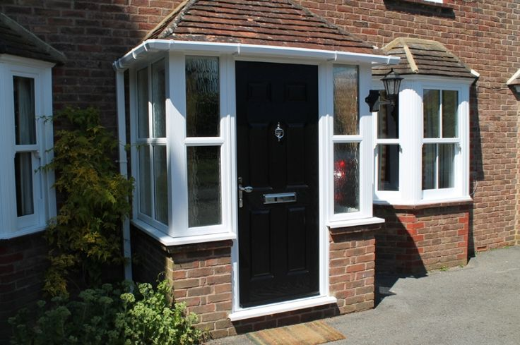 porch uk, black door, white windows