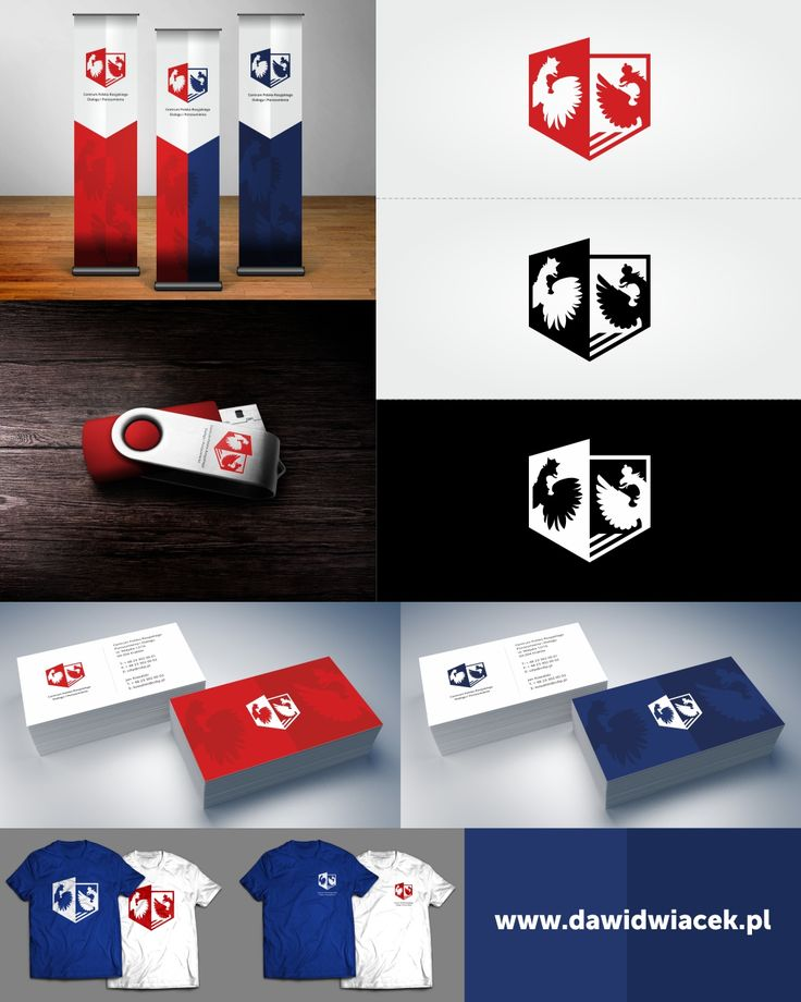 Logo, rollup, business card, t-shirt and pendrive graphic design for The Centre od Polish-Russian Dialogue. Design inspired by the emblems and colors of national flags.