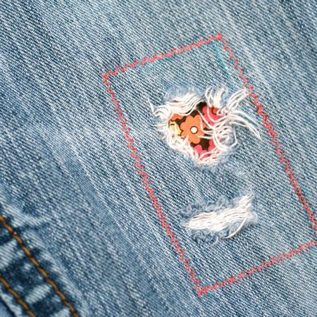 Cute way to patch up Boston's jeans until warmer weather comes!  I refuse to buy new jeans for her on May 30th...I refuse!  Dang weather!