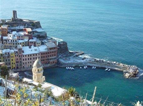 A view of Vernazza in Italy's Cinque Terre from Ristorante Belforte