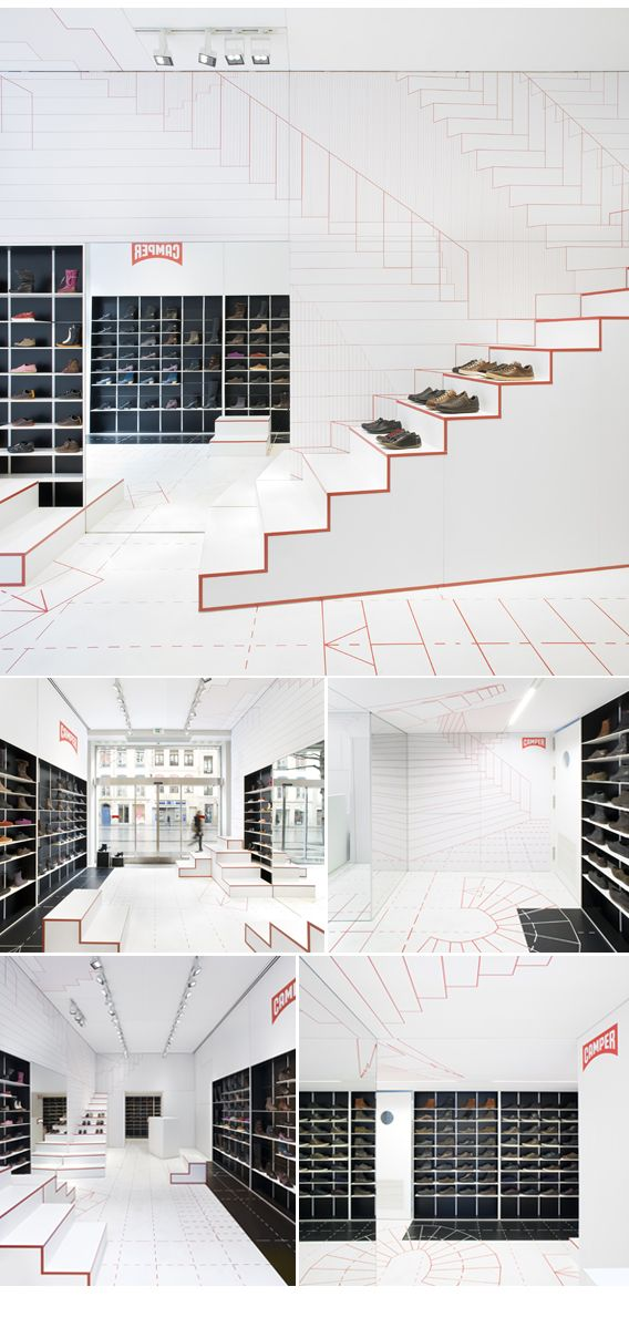 It looks almost drawn with the bright lines.  Camper Shoes Store, Lyon