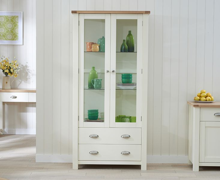 Somerset Oak and Cream Display Cabinet
