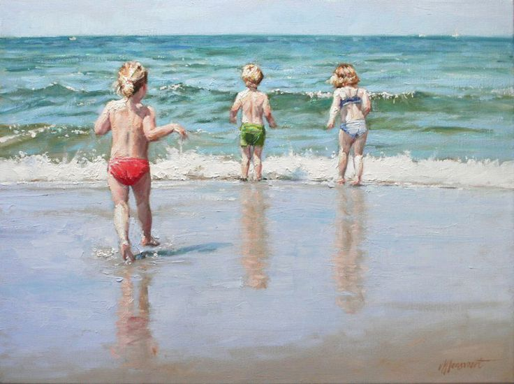 Kids at the coast | commissioned painting by Richard van Mensvoort