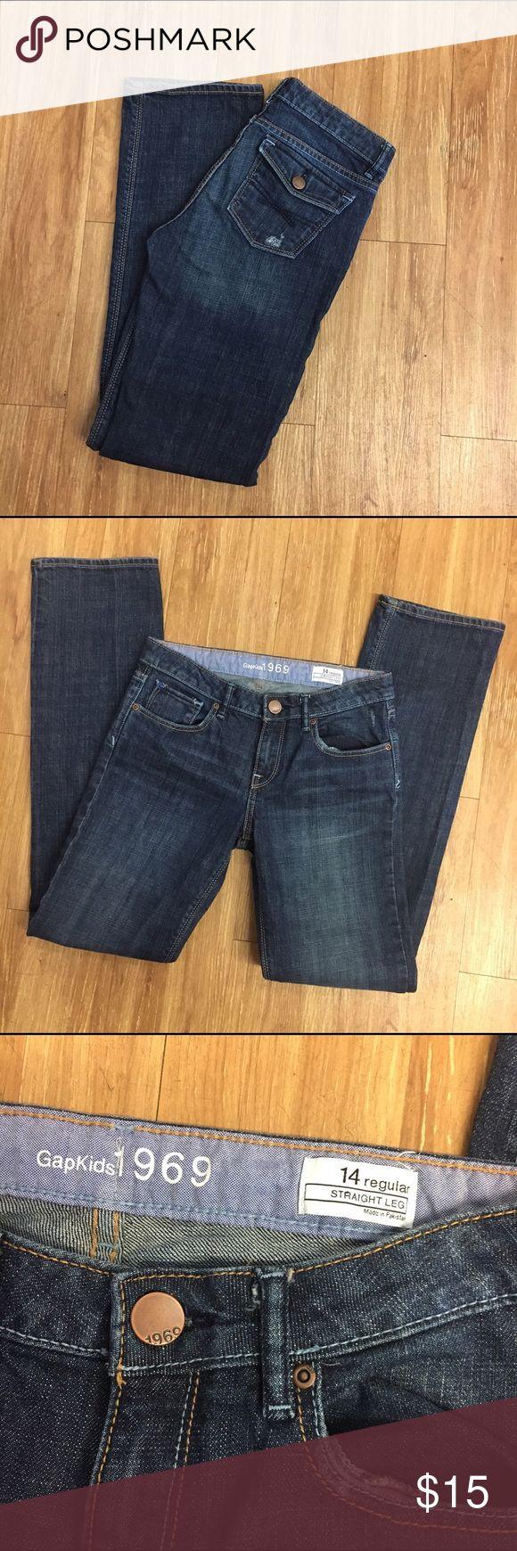 "Gap Jeans Girls 14 Straight Leg Regular Gap Jeans Girls 14 Straight Leg Regular  Great condition.  Factory distressed, lightly.    Length: 37.5"" Inseam: 30""  All measurements approximate.  #jeans #denim #straightleg #gap #gapjeans #blue GAP Bottoms Jeans"