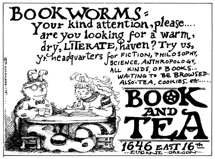 a 1975 ad about a tearoom cum bookstore in Eugene, Oregon.