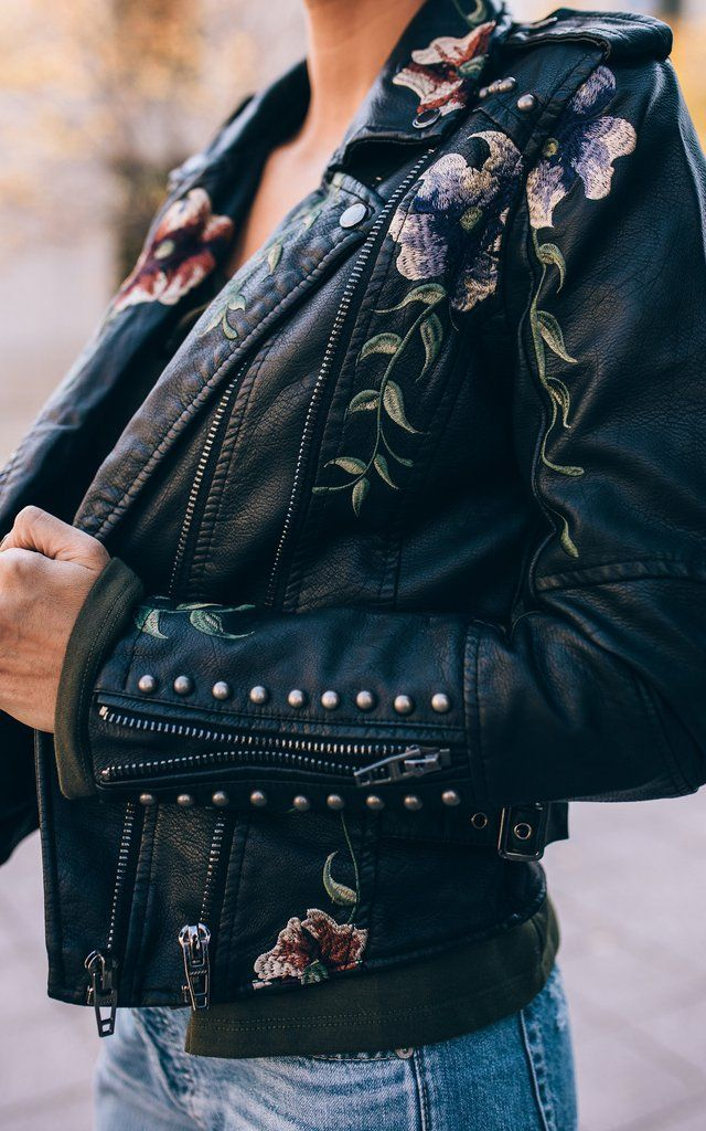 Embroidered Leather Jacket