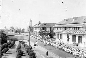 A procession of senior students of The Accra Royal School during the Empire Day celebrations