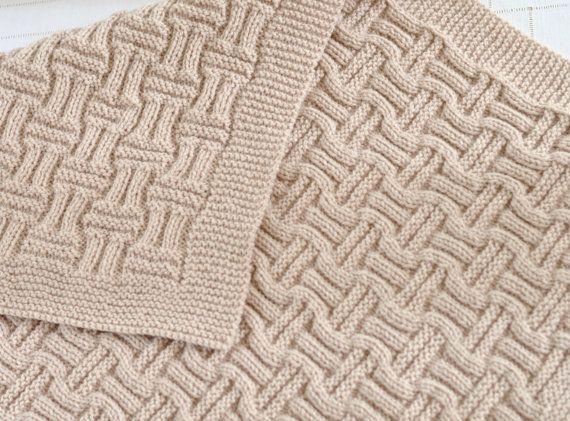 Knitting Pattern Beginner Knit Baby Blanket in Double Basket Weave Pattern Digital File Instant Download Beginner Blanket Knitting Pattern