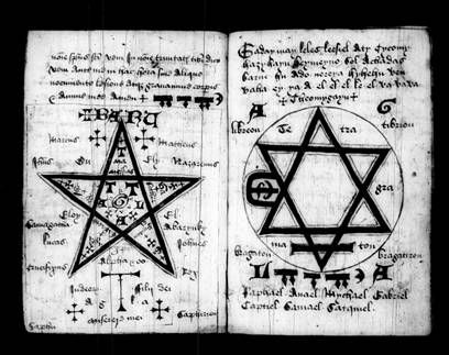 A 15th century magical manuscript from Oxford, depicting a complex pentacle and hexagram.
