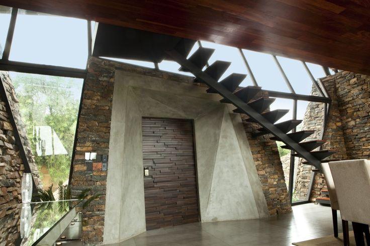 stairs of modern pool house garden design ideas