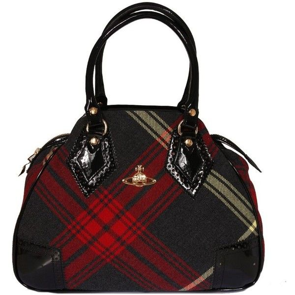 Vivienne Westwood 's small tartan back with gold hardware and black patent 'brogue style' trim and handles.