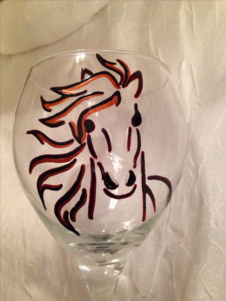 Horse head wine glass by Kim Owens Glass Painting