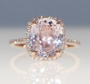 3.2ct cushion mauve blush ice peach champagne sapphire 14k rose gold diamond ring engagement ring by terra
