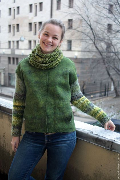 Верхняя одежда ручной работы. Ярмарка Мастеров - ручная работа. Купить Валяная куртка Тайга. Handmade. Зеленый, шерсть меринос