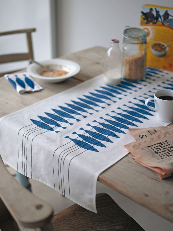 Brighten up your dining table with these printed linen table runners featuring a vintage design by Marianne Nilsson. Use one across the length of your table or try a couple the other way, they work wonderfully as place settings.  45cm x 140cm 55% linen 45% cotton. Available from www.newhousetextiles.co.uk