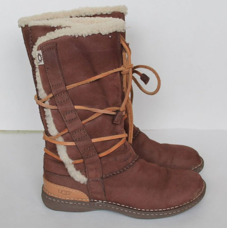ugg womens brown leather lace up boots size 9