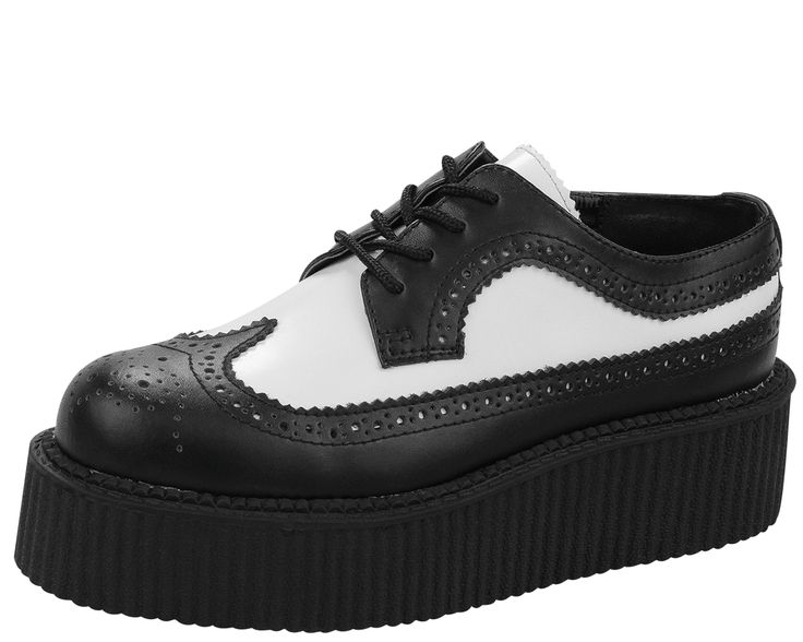 Picture of A8501 Black & White Perforated Leather Creepers
