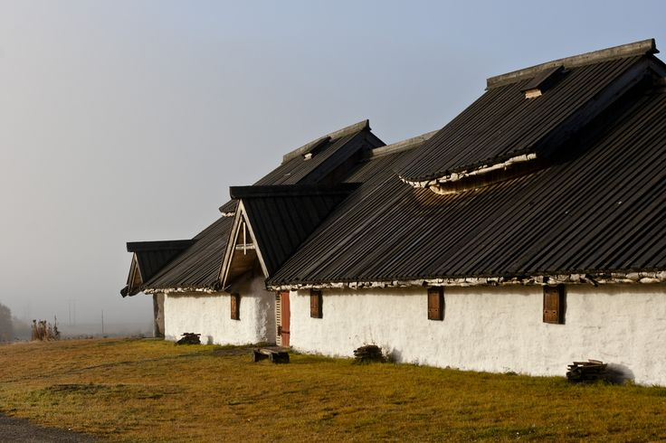 The longhouse at Veien on a misty morning.