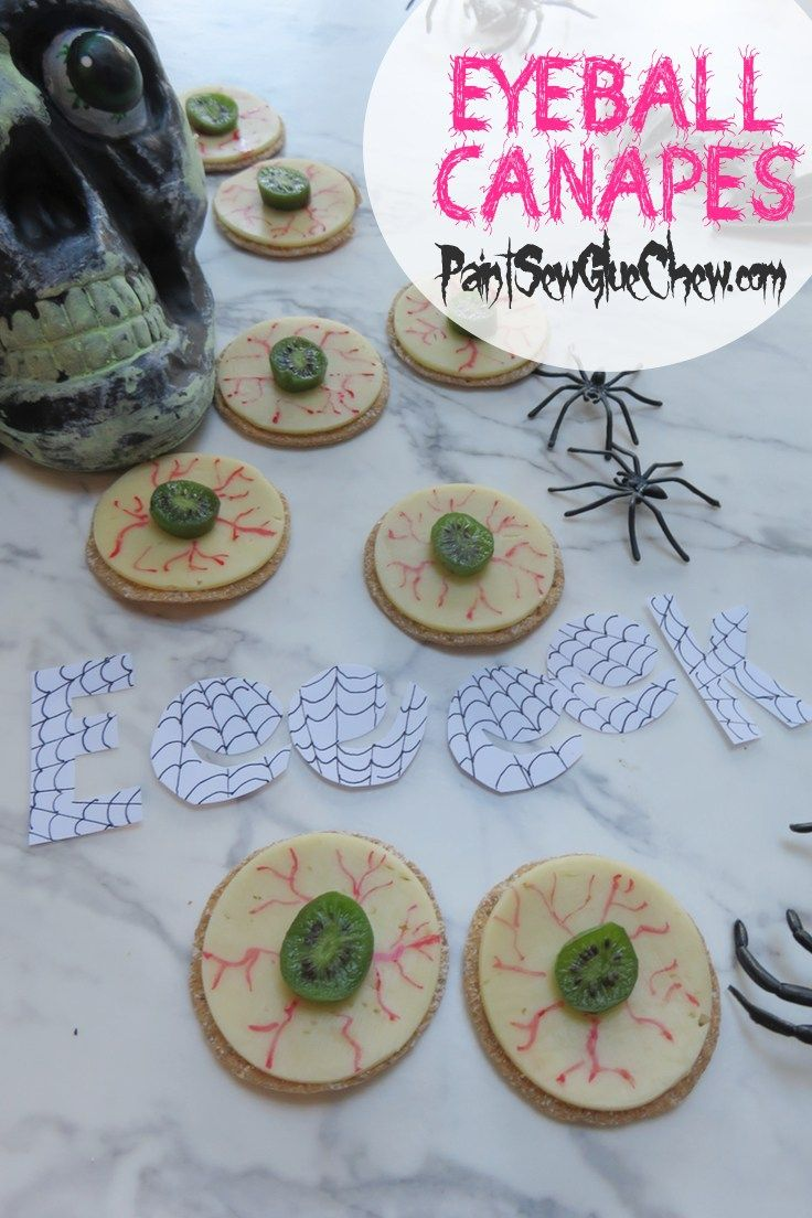 Halloween Eyeball Canapes with Cheese and Kiwi Berries