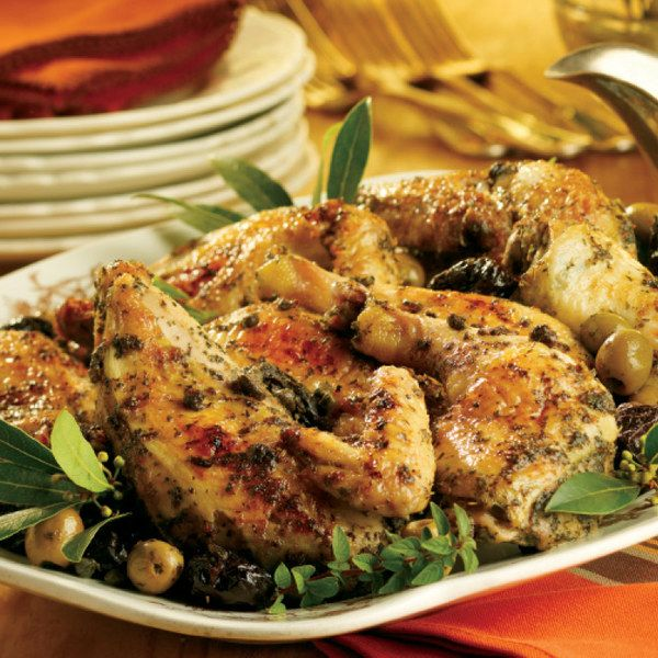 Chicken Marbella - marinated wings or drumsticks or chicken with bone in, with prunes, olives, and capers.  Long marination necessary.