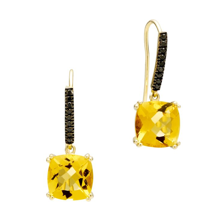 18CT HONEY QUARTZ & BLACK DIAMOND KAARINA EARRINGS