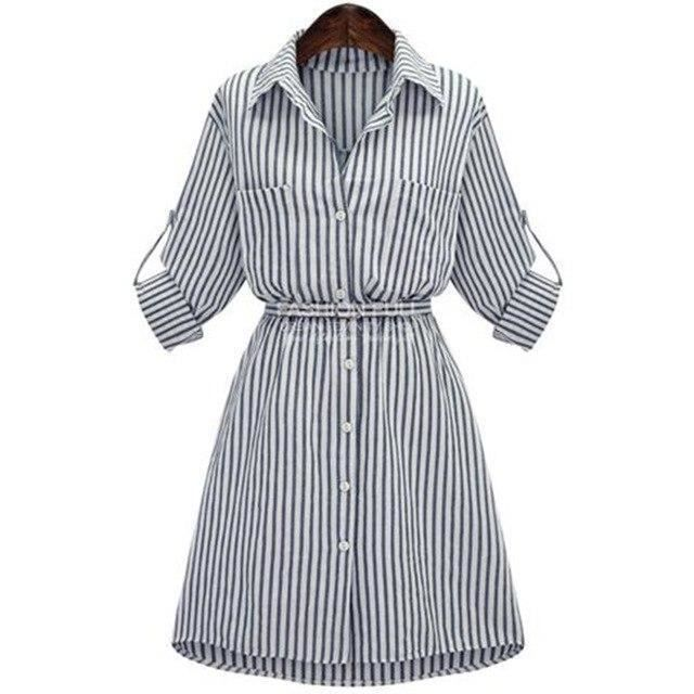 Full Sleeve Turn Down Collar Stripe Pattern Women S Shirt Dress Ebay Dress Shirts For Women Women Long Sleeve Dress Plus Size Shirt Dress