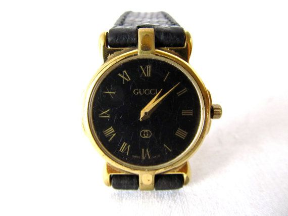 ef162fe9e Vintage Gucci Watch . 1980s Black & Gold Women's Watch . Small and Dainty