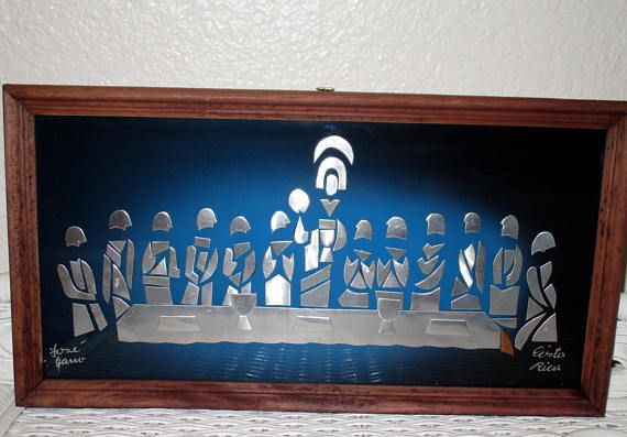 Vintage Last Supper Wall Art Mid Century Modern Abstract Metal Last Supper Last Supper Art Mosaic Projects