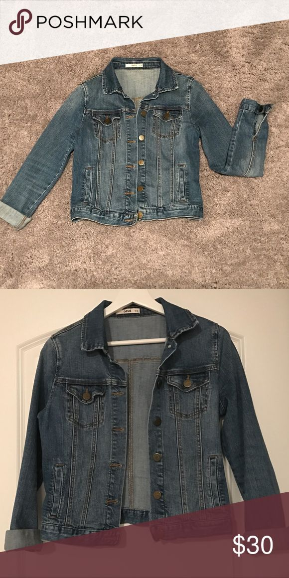 OASIS Cropped Denim Jacket Classic wash denim jacket with a cropped body. Goes perfectly with everything, especially summer dresses! Oasis Jackets & Coats Jean Jackets