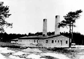 The Crematorium IV building, which contained a gas chamber and furnaces for burning corpses. at Auschwitz-Birkenau. According to calculations by the German authorities, 768 corpses could be burned in this crematorium every 24 hours. According to the testimony of former prisoners, the figure was higher.