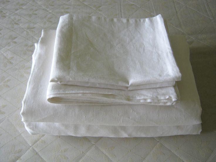 Sheet set Full Linen Double White Natural 100% by LinenComfort