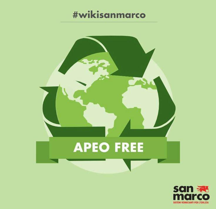 APEO-free indica la caratteristica di un prodotto esente da APEO (alchilfenolo etossilato), sostanza pericolosa per l'ambiente e gli organismi acquatici. Il regolamento REACH (Regolamenti EC 552/2009 EC 1907/2006 REACH), proibisce in Europa l'uso di APEO in concentrazioni uguali o maggiori di 1.000 ppm (parti per milione).