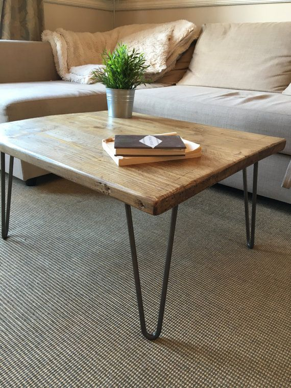 Rustic Wooden Coffee Table Made From Reclaimed Scaffold Boards & Steel Hairpin Legs – Urban Industrial