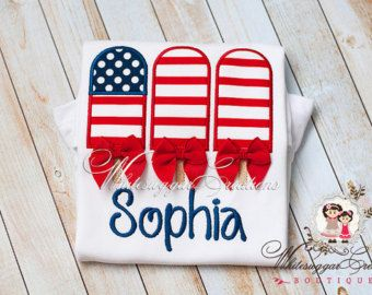 Patriotic Fourth of July Flag Popsicles Shirt with Bows - Baby 1st Independence Day, Summer Personalized shirt, 4th of July Outfit