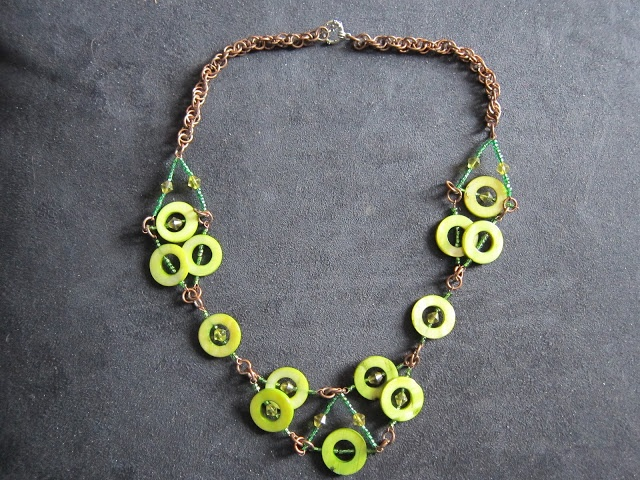 Green Shell and Coper Necklace