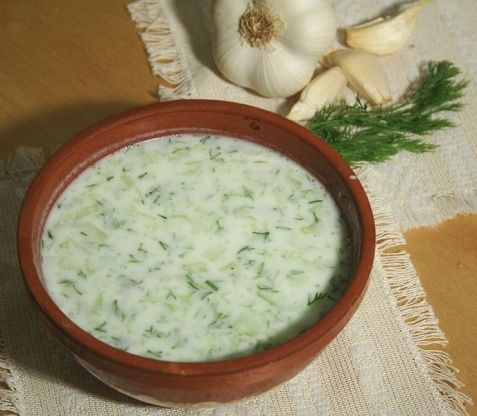 This cold soup is among Bulgarians favorite foods for the summer. It is served as a first course instead of a salad or between meals as refreshment. You might even see it served in a glass. Most men here say it goes great with a glass of cold rakiya (Bulgarian grape or fruit brandy) or Ouzo.