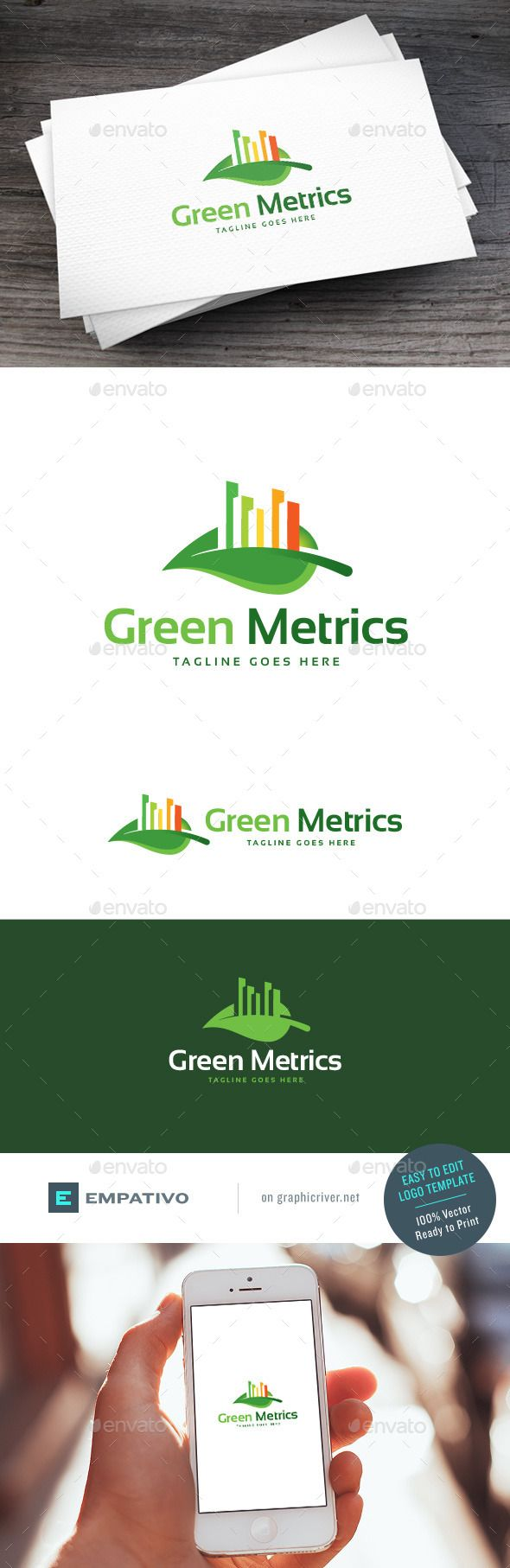 Green Metrics Logo Template by empativo Modern, versatile and stylish logo template. Ideal for a wide range of uses. Features  100% vector. Easy to edit color / text