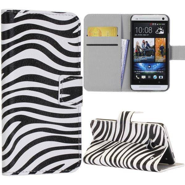 Zebra patroon booktype hoesje voor HTC One m7