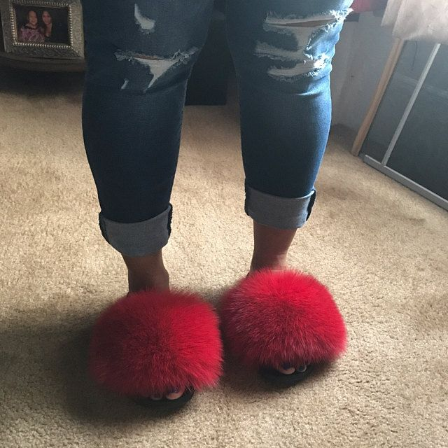 Real Fox Fur Indigo Silver Slide Sandals Slippers Slides New
