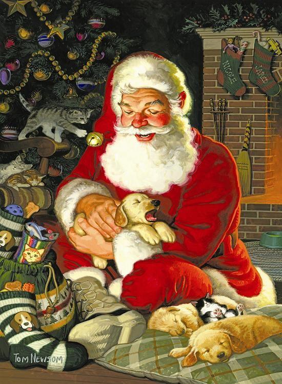 Sleepytime Santa -  art by Tom Newsom: - 500 Piece Jigsaw Puzzle