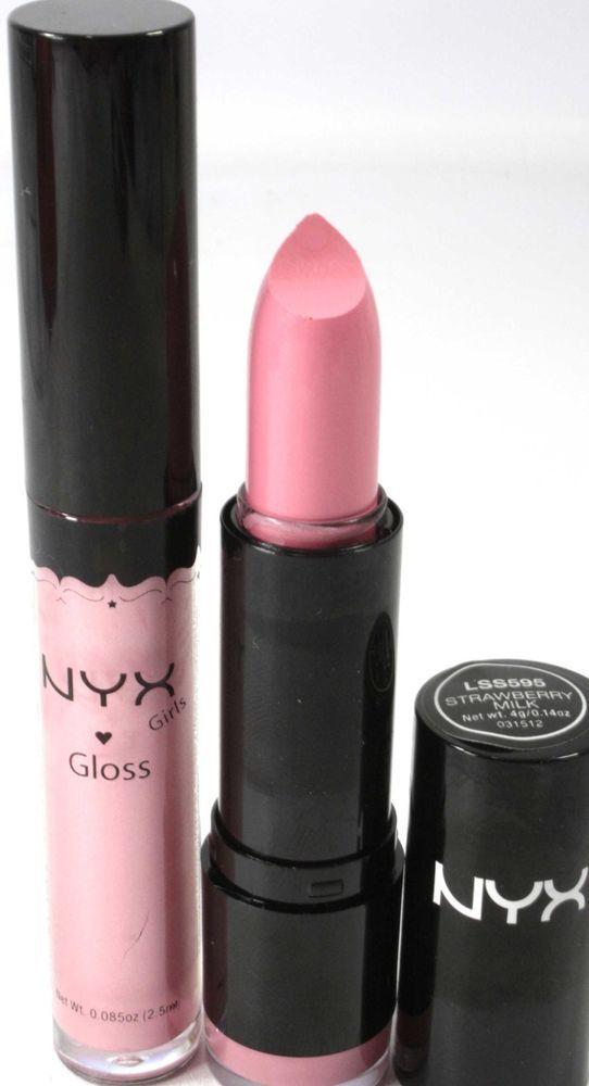 NYX Lipstick & Lipgloss Round 595 STRAWBERRY MILK & #15 BABY PINK new makeup