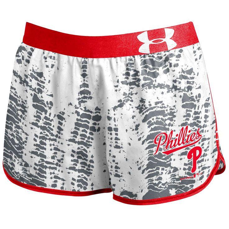 Philadelphia Phillies Under Armour Women's Tied Up Performance Running Shorts - Gray - $36.99