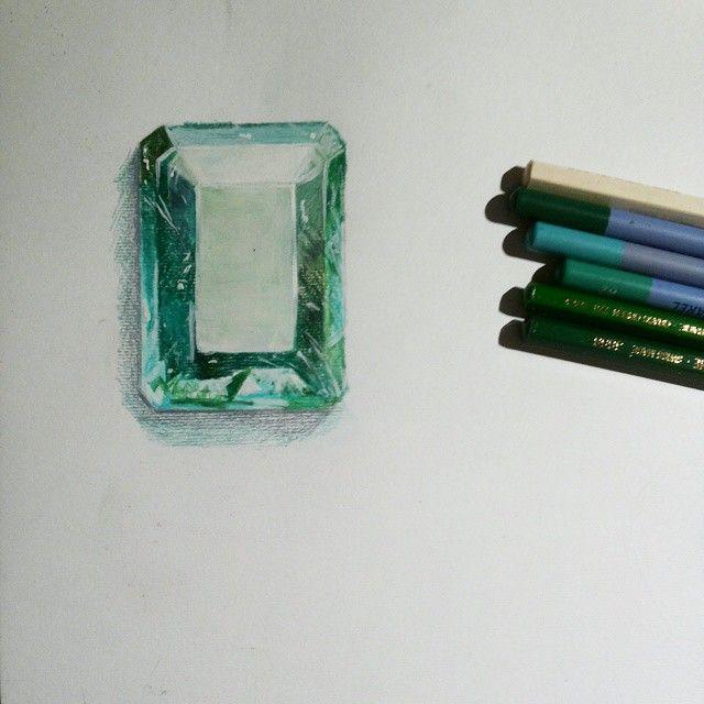 Emerald Smeraldo, disegnato con pastelli Caran D'Ache